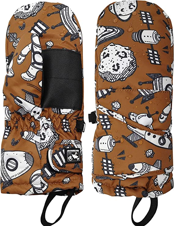 , Camo HIGHCAMP Boys Girls Thumbs Up Mittens Wide Zippered Stay on Waterproof Gloves L 8-10 Y