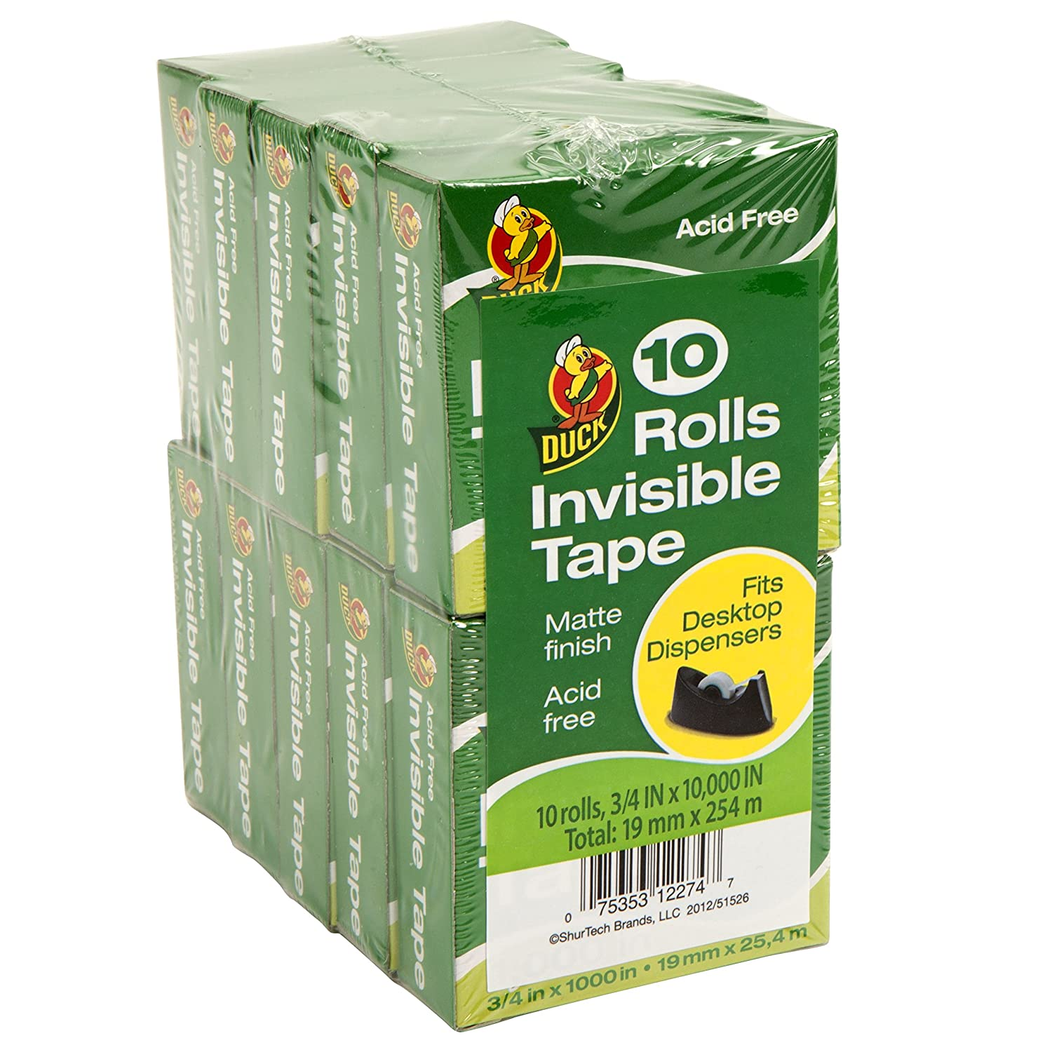 Duck Brand Matte Finish Invisible Tape, 0.75 Inches x 1000 Inches, Clear, 10 Pack (281804)