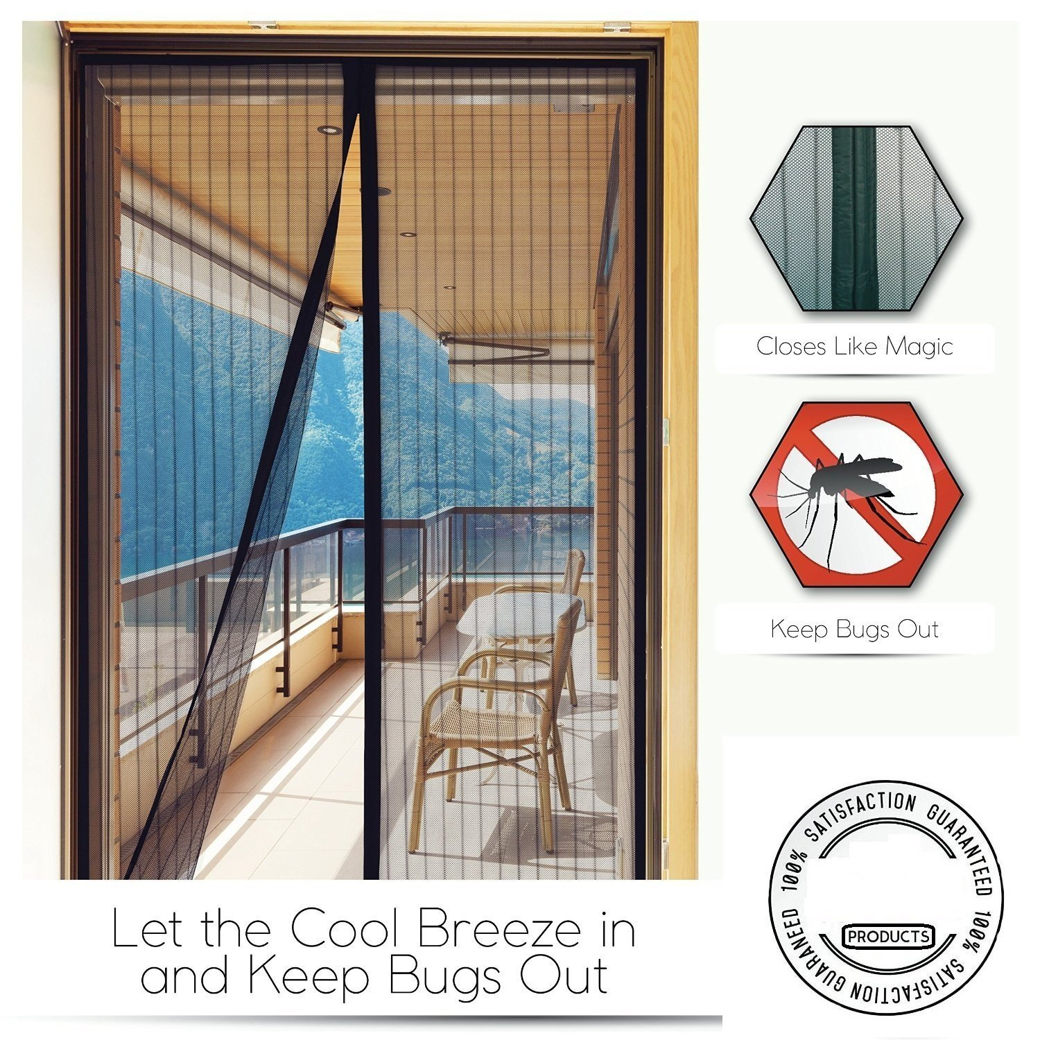 MasterStor Magnetic Screen Door Net - Anti Mosquito Insect Fly Bug Curtains Magnetic Mesh Net with Hook and Loop Fastener Tape - 36 x 83 Inch - Black Magnetic Screen Door (36 X 83) - Black