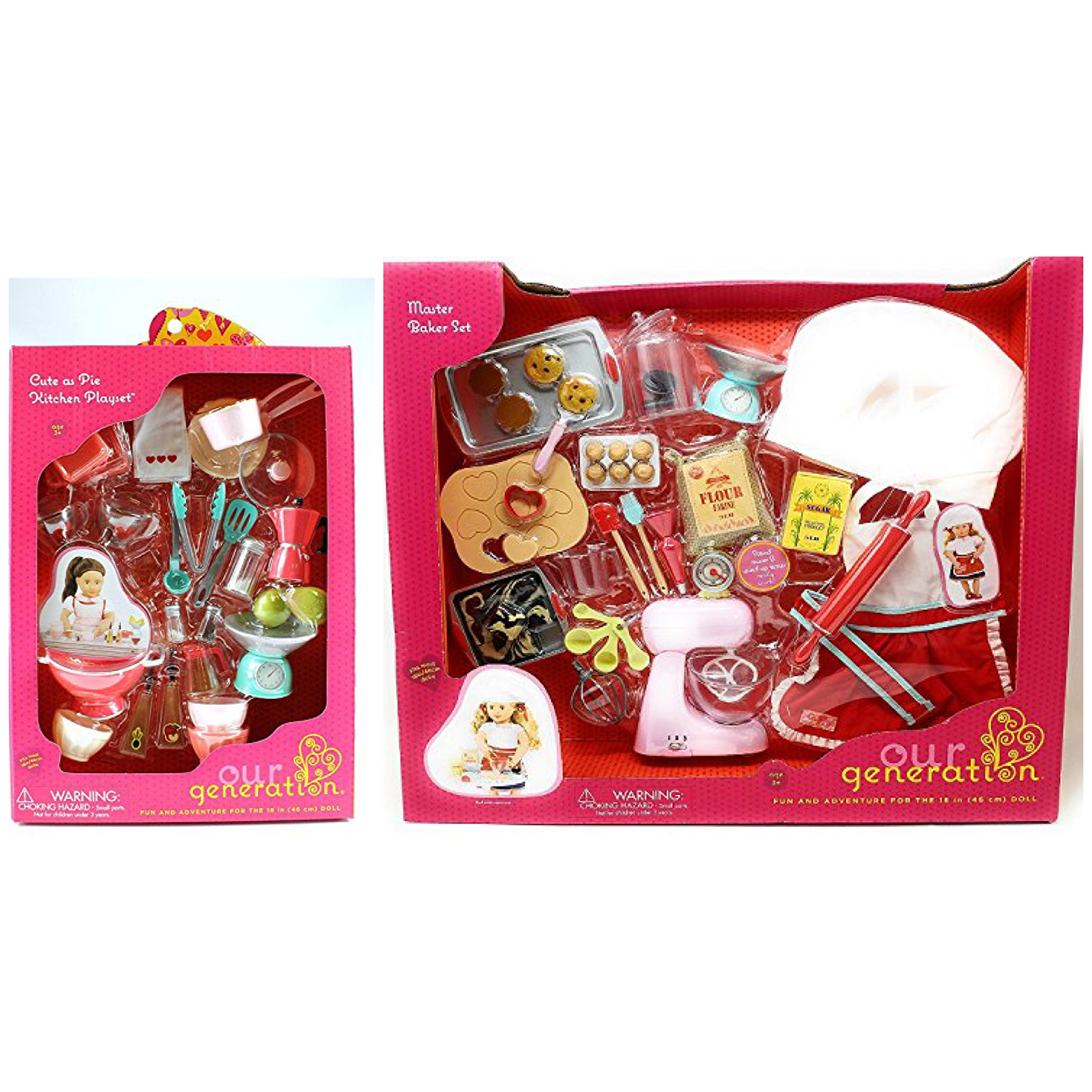 CHRISTMAS BUNDLE ! Our Generation Home Baking Accessory Set AND Our Generation Pegged Accessory - Cute as Pie Kitchen Playset by Our Generation