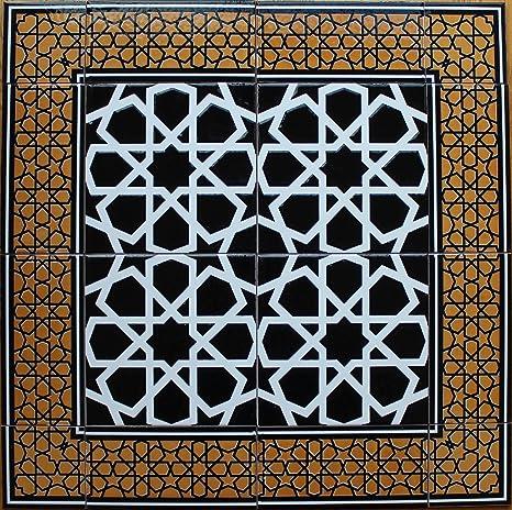 "Turkish Iznik Raised Mustard /& Black Geometric Pattern 8/""x8/"" Ceramic Tile"