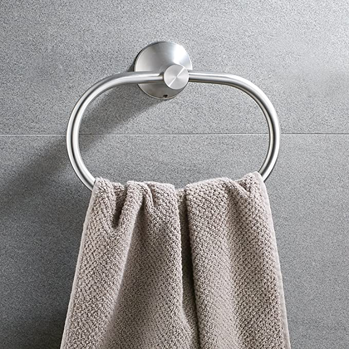 Amazon.com: Bath Towel Ring Holder Bathroom Shower Hand Towel Ring Hanger Kitchen Round Ring Towel Rack Set Wall Mount Stainless Steel Polished Satin ...