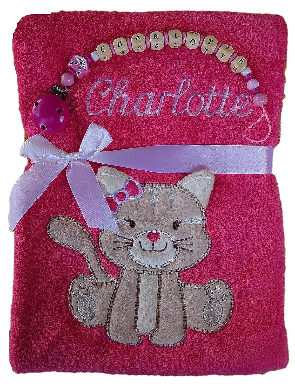 Schnullerkette pink Geschenk Baby Taufe Geburt Babydecke mit Namen bestickt