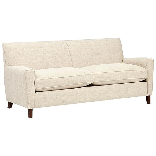 Rivet Lawson Modern Angled Sofa, 78 W, Pearl