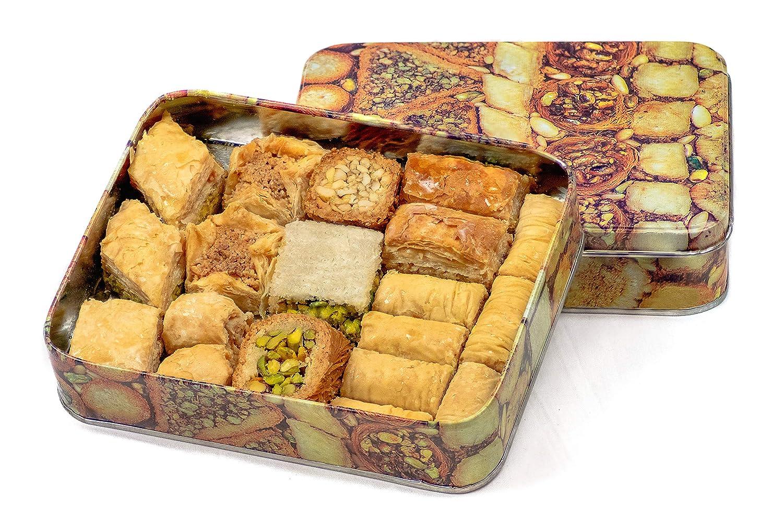 Baclava Caja de lata de Baklava, Prime, 500 gramos, mezcla variada de Baklava que incluye variedades de nueces de nuez y anacardo de pistacho: Amazon.es: ...