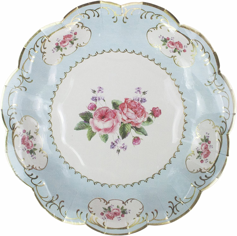 "Talking Tables TSCHINTZ S Truly Chintz Tea Party Vintage Floral Paper Plates, Pack of 12, Dia 18cm, 7"", Pastel colors"
