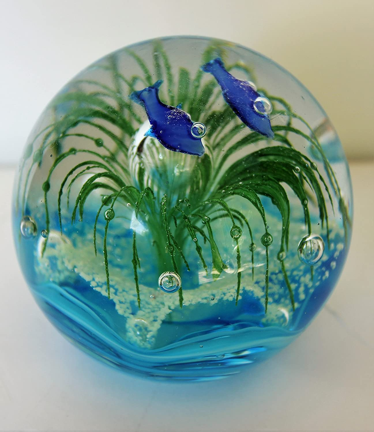 """3.55"""" Murano Design Dolphins in Seaworld of Bubbles Paperweight (Different Colors)"""