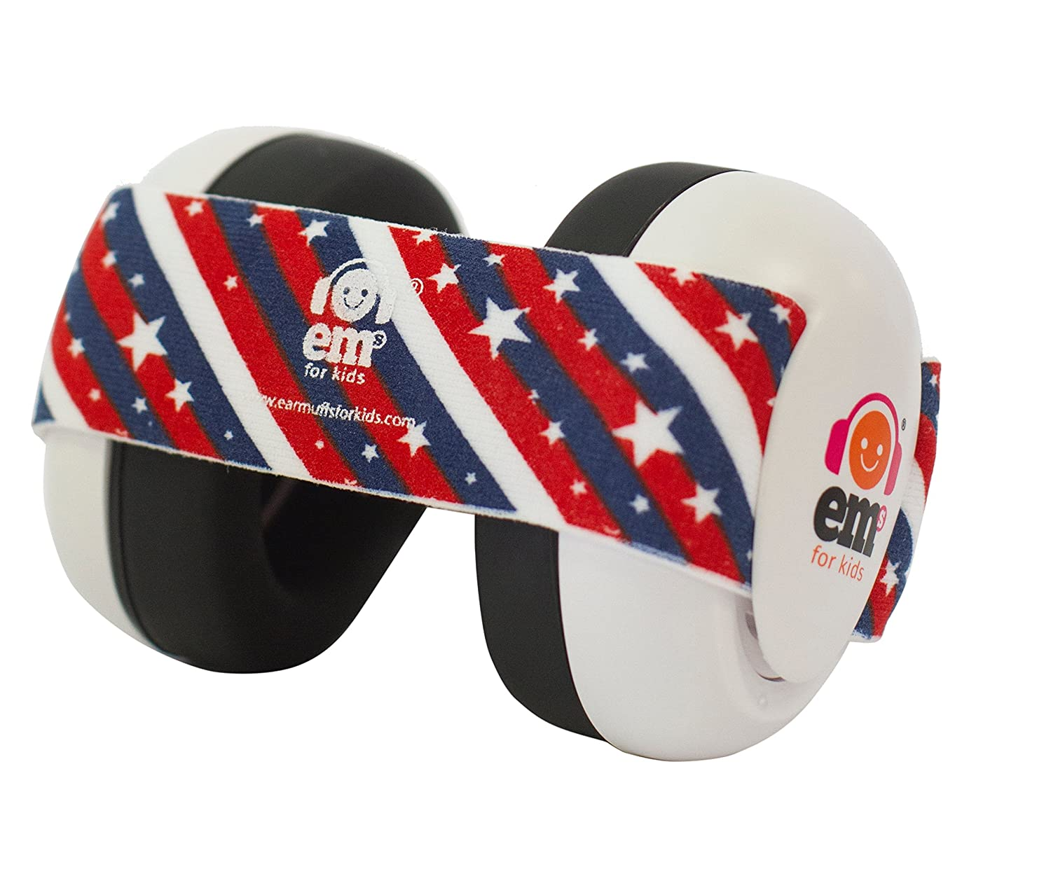 Ems for Kids Baby Earmuffs - White with Stars n Stripes. Made in The U.S.A! The Original and ONLY Earmuffs Designed specifically for Babies Since 2009 EM002