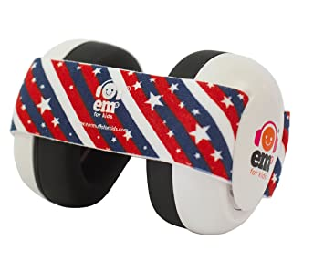 c607bb4f22a Amazon.com   Ems for Kids Baby Earmuffs - White with Stars n Stripes. Made  in The U.S.A! The Original and ONLY Earmuffs Designed specifically for  Babies ...
