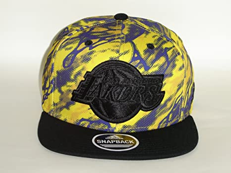 5d4501da45d399 Image Unavailable. Image not available for. Color: Adidas NBA Los Angeles  Lakers Logo 3 Tone Panit Brush Snapback Cap