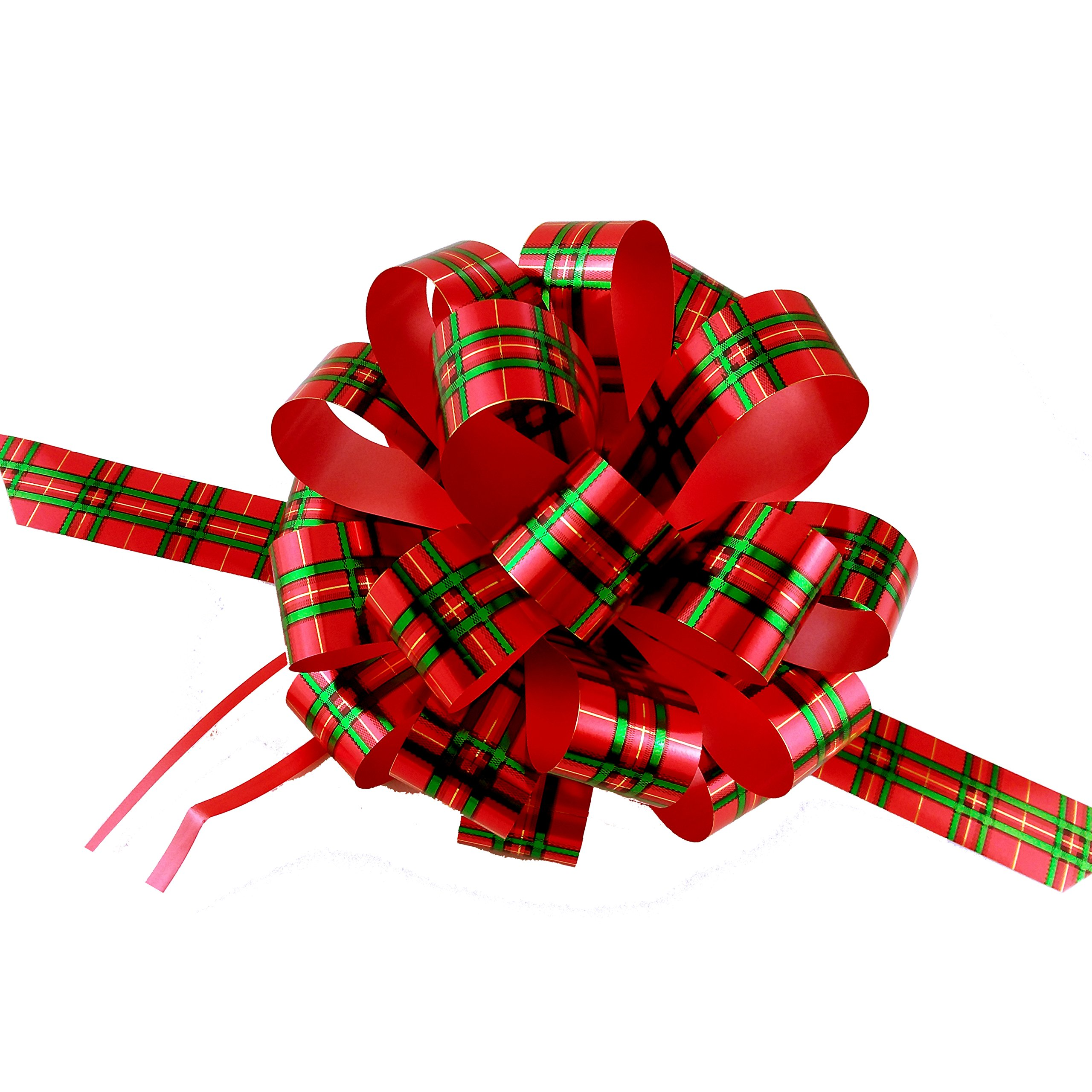 """Amazon.com: Large Metallic Red & Green Pull Bows - 8"""" Wide ..."""