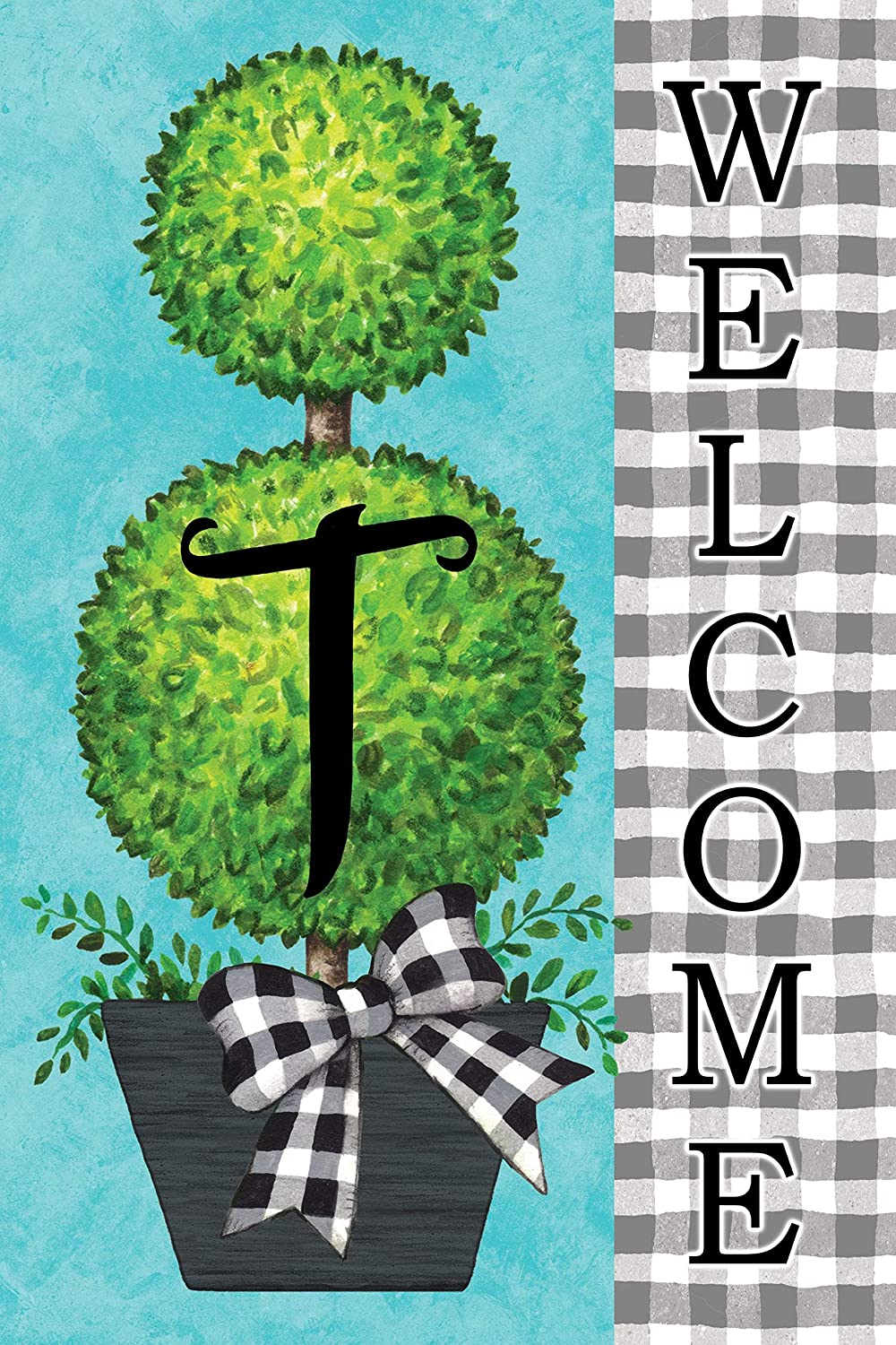 Custom Decor Gingham Topiary - Letter T - Embroidered Monogram - Decorative Double Sided Flag - Garden Size, 12 Inch X 18 Inch, Licensed, Copyright & Trademark CDI. USA