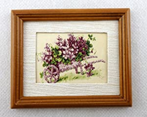 Melody Jane Dolls Houses House Miniature Accessory Wheelbarrow of Violets Picture in Walnut Frame