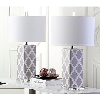 Safavieh Lighting Collection Garden Lattice Grey 27-inch Table Lamp (Set of 2)
