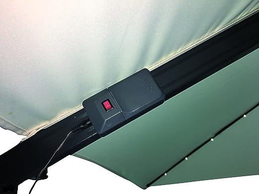 Sombrilla colgante luces LED toalla Crudo 3 X 4 metros palo lateral excéntrico de aluminio gris de jardín piscina Bar Restaurante cuadrado ajustable de 5 posiciones brazo lateral giratoria iluminación sobre barras