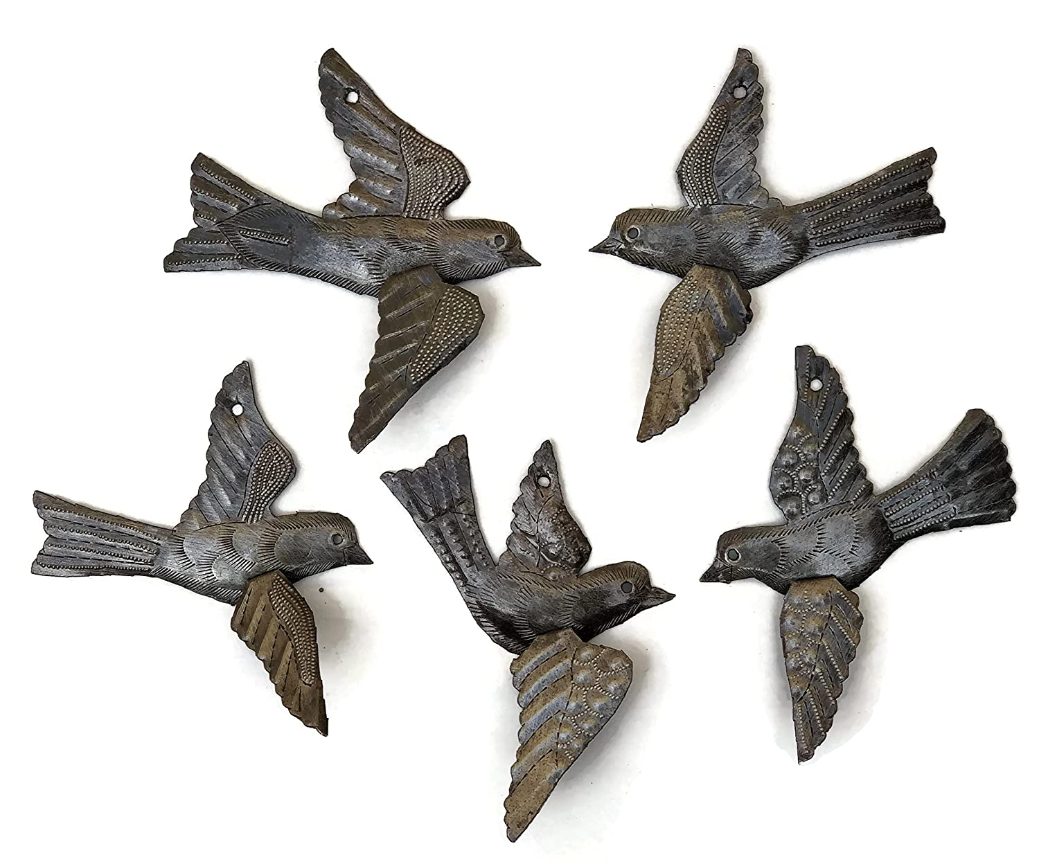 "Haitian Birds Recycled Steel Drum Art 3-d Wings (Set of 5), Metal Art Wall Decor 5"" x 4.5"""
