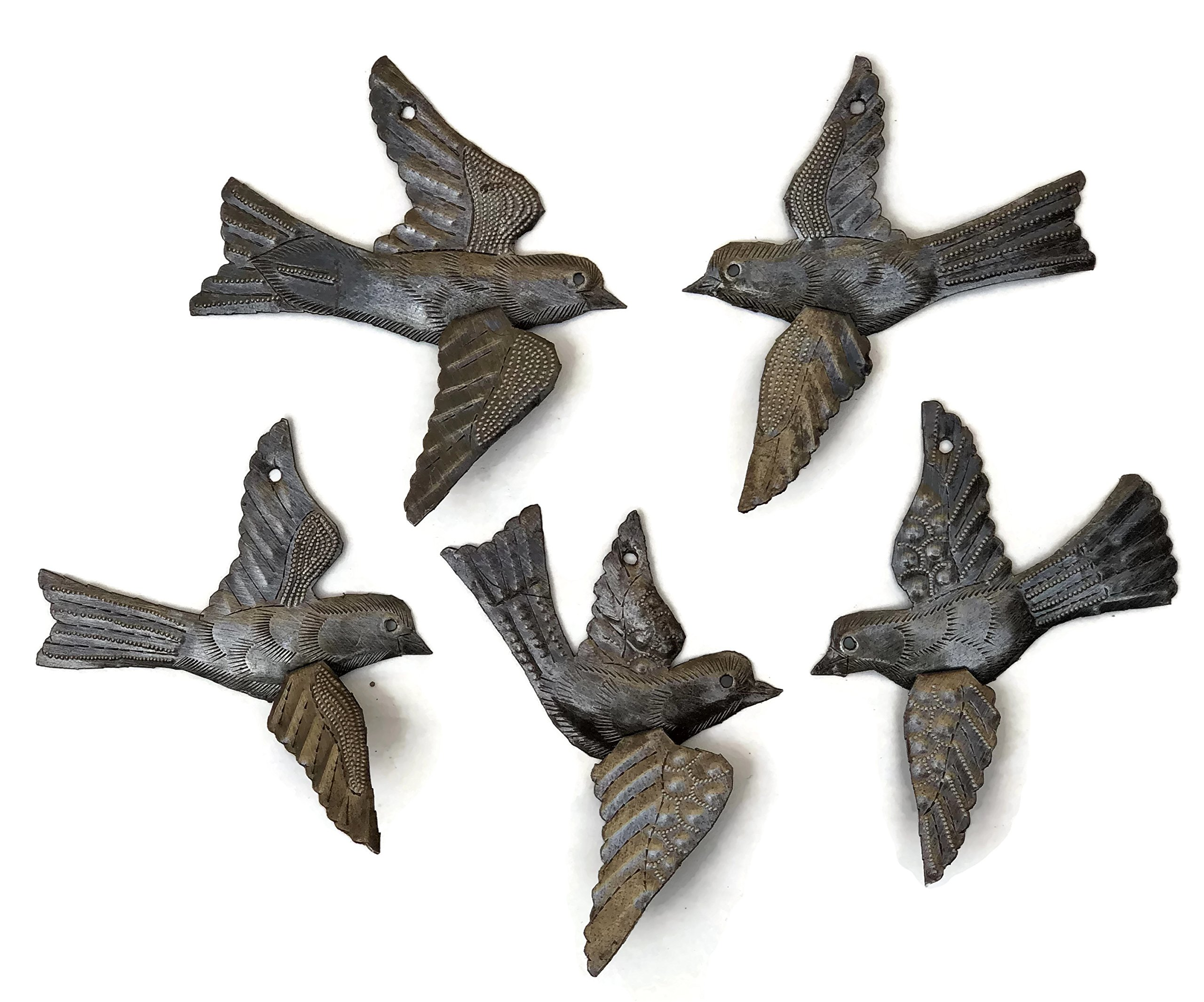 Haitian Birds Recycled Steel Drum Art 3-D Wings Set of 5 Metal Art Wall Decor 5 x 4.5 inches by it's cactus - metal art haiti