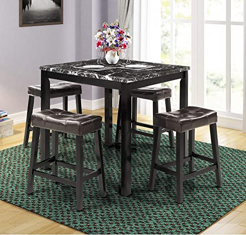 LZ LEISURE ZONE Dining Table Set for 4, Kitchen Table Set Marble Veneer Wooden Top Counter Height Dining Room Table Set with 4 Leather-Upholstered Stools Black