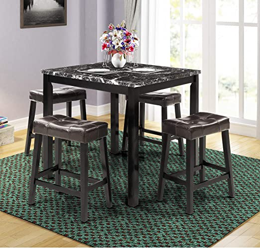 LZ LEISURE ZONE Dining Table Set for 4, Kitchen Table Set Marble Veneer  Wooden Top Counter Height Dining Room Table Set with 4 Leather-Upholstered  ...
