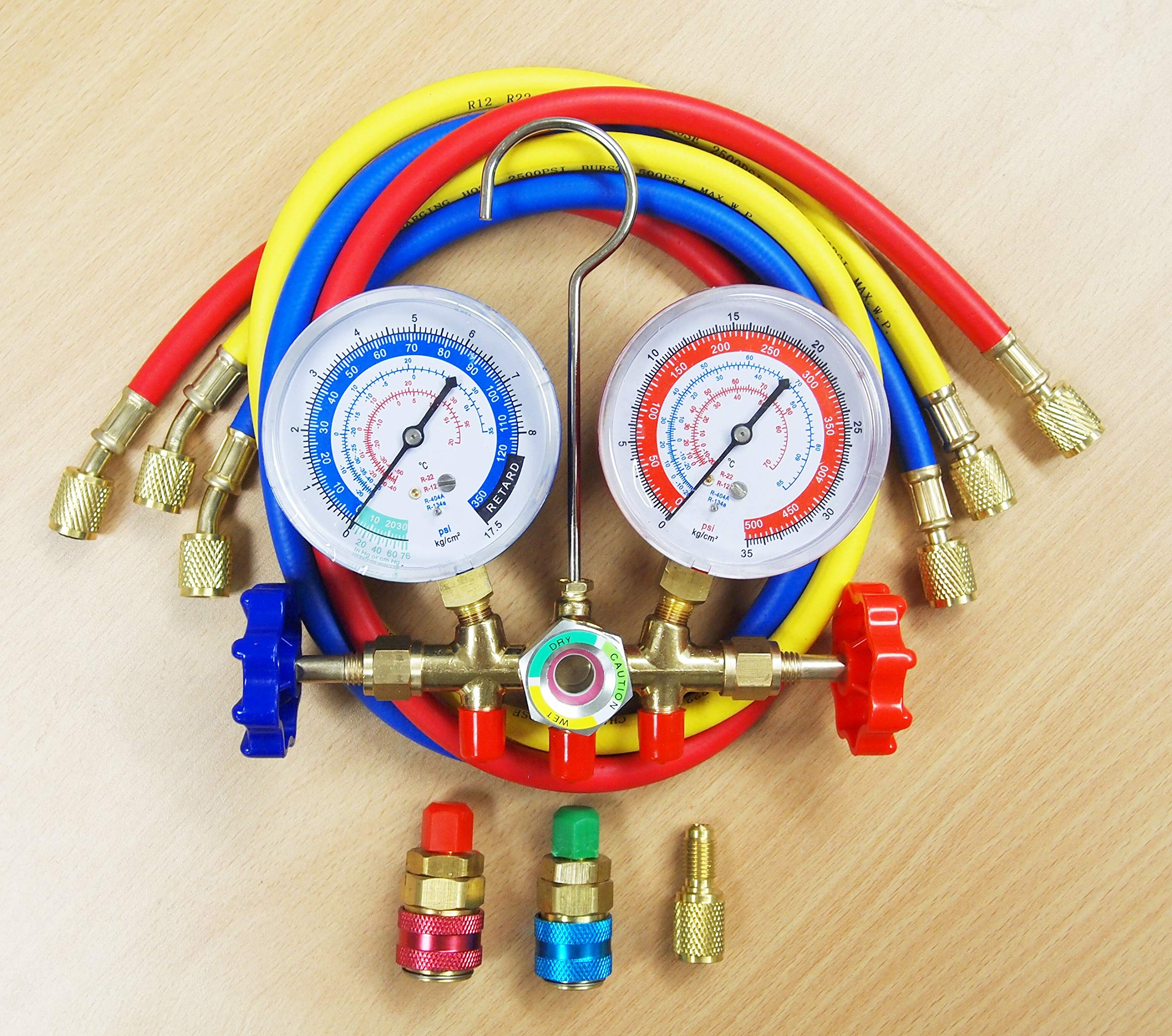 R12 R22 R134a R404a Manifold Gauge Set 3'' Gauge HVAC A/C Refrigeration Charging Service