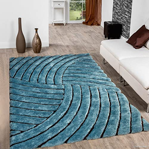 Allstar 8×11 Turquoise Modern and Contemporary Hand Carved Rectangular Shag Accent Rug with Espresso Abstract Geometric Curve Quadrant Stripe Design 7 5 x 10 5
