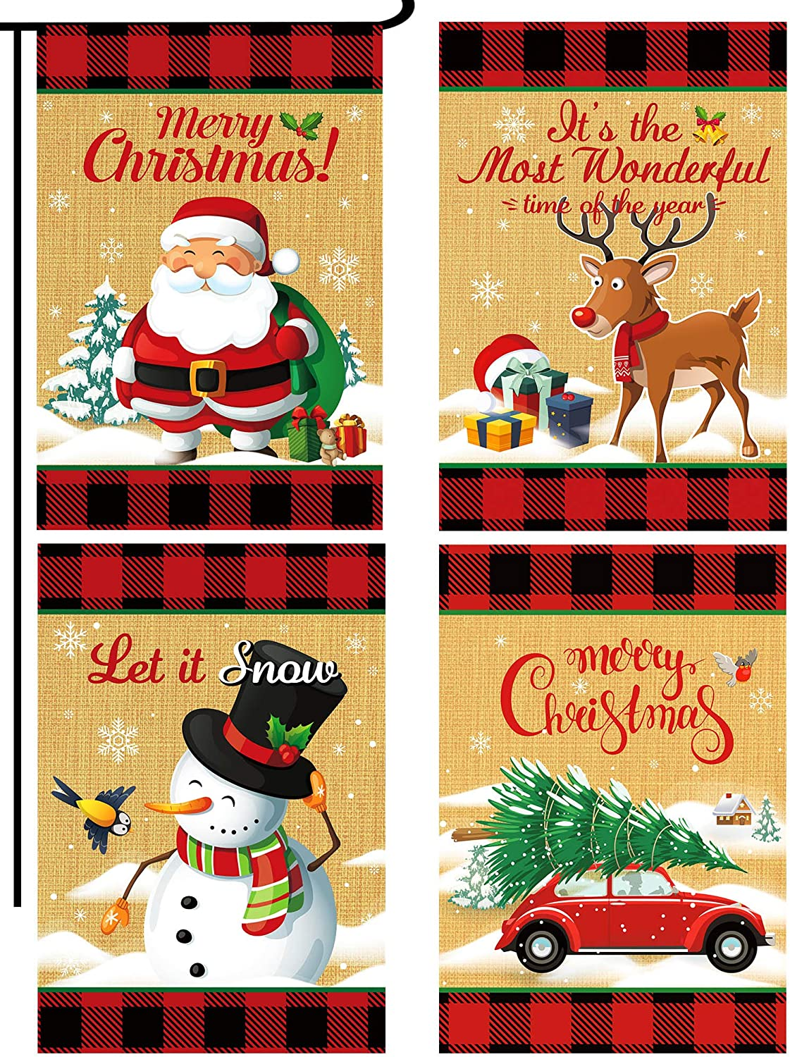Boao 4 Pieces Christmas Garden Flag Double Sided Winter Decorative Flag with Santa Snowman Elk Car Design for Winter House Yard Decoration