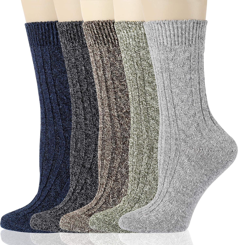 Gaoport 5 Pairs Womens Wool Socks Thick Knit Warm Casual Wool Cozy Crew Winter Socks Gifts