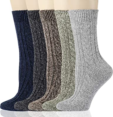 5PaiRS Women/'s Winter Soft Warm Cozy Fuzzy Retro Cashmere Wool Socks Xmas Gift