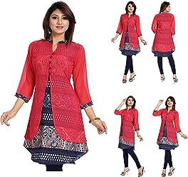 UK Stock - Women Fashion Party Indian Kurti Tunic Kurta Top Shirt Dress SC482