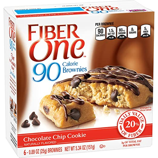 Fiber One 90 Calorie Soft-Baked Bars Chocolate Chip Cookie, 5.34 oz, 6 Count