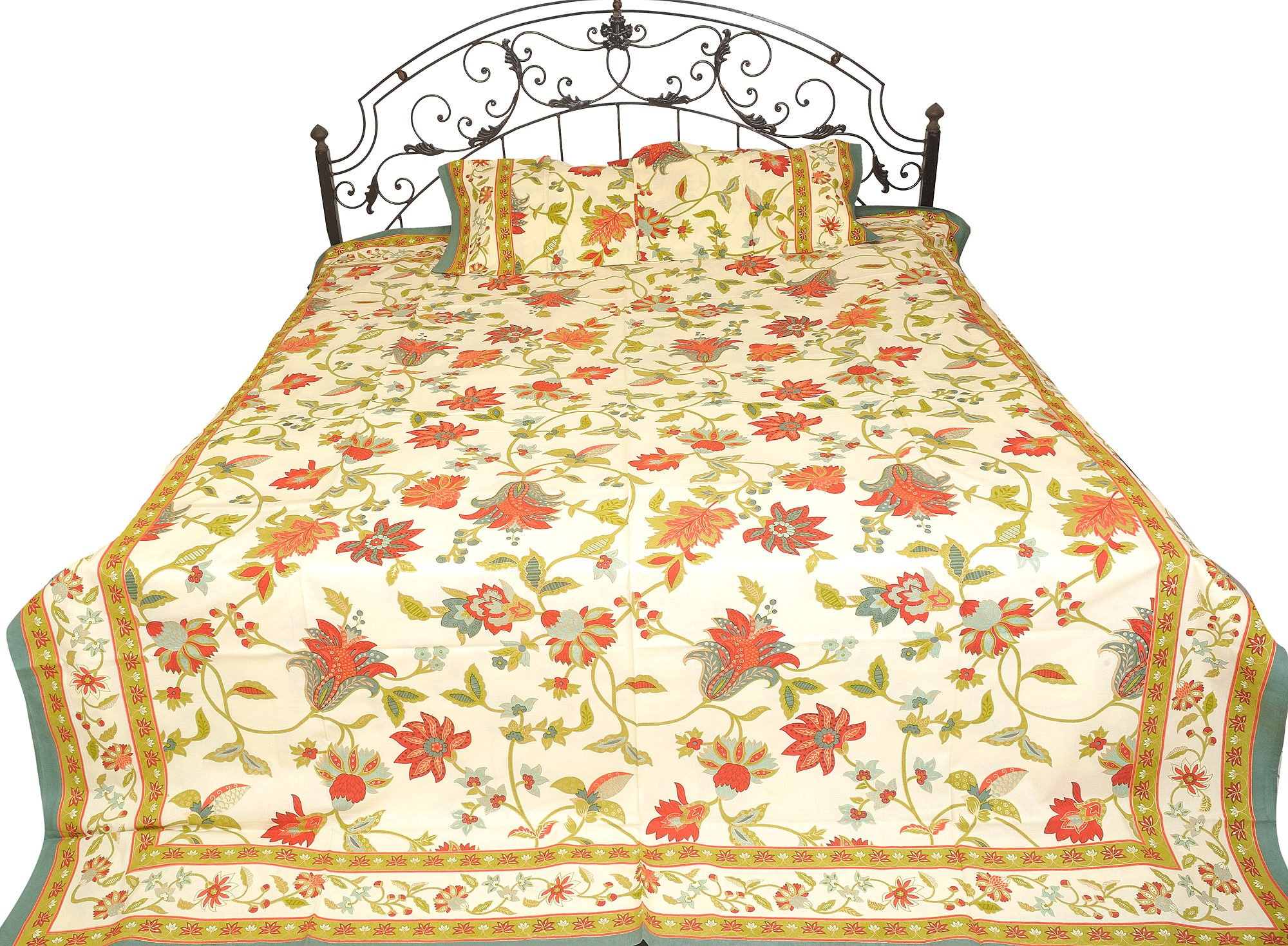Exotic India Bedspread from Sanganer Printed Flowers Leaves - Pure Cotton Pillow Covers - Color Cream Red Color by Exotic India (Image #1)