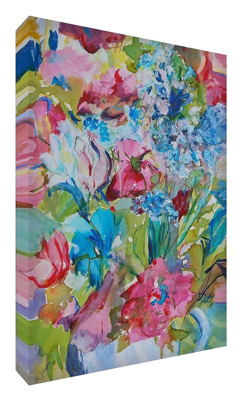 Feel Good Art Leinwand leuchtenden Farben Abstrakt gehören des Künstlers Val Johnson Floral 115x 78x 4cm Größe XXL