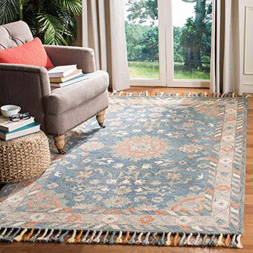 Safavieh Aspen Collection APN123A Blue and Rust Premium Wool Area Rug 8 x 10
