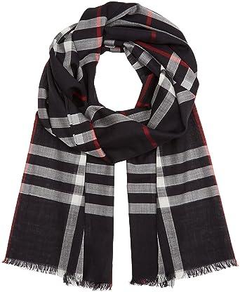 Burberry Lightweight Check Wool Silk Scarf Navy At Amazon Women S