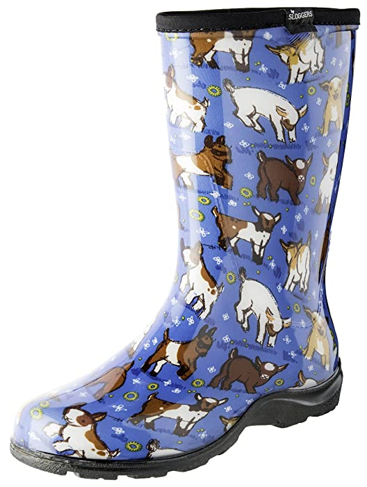 Sloggers Women's Waterproof Rain and Garden Boot with Comfort Insole, Goats Sky Blue, Size 9, Style 5018GOBL09