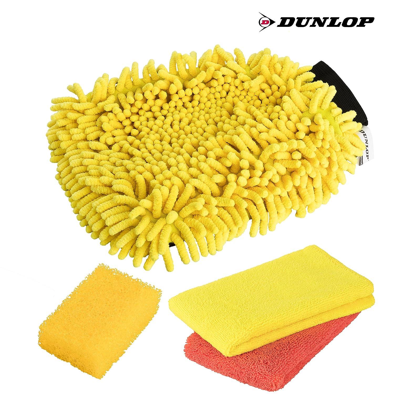 2in1 Chenille Waschhandschuh Insektenschwamm DUNLOP 4-teiliges Premium Auto /& Motorrad Waschset 2x Mikrofasertuch