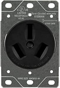 ENERLITES 50 Amp Receptacle Outlet, NEMA 10-50R, Residential Commercial Industrial Grade, Outdoor/Indoor, 3-Pole, 3 Wire, (10,8,6,4) AWG, UL Listed, 125/250V, 67500-BK, Black