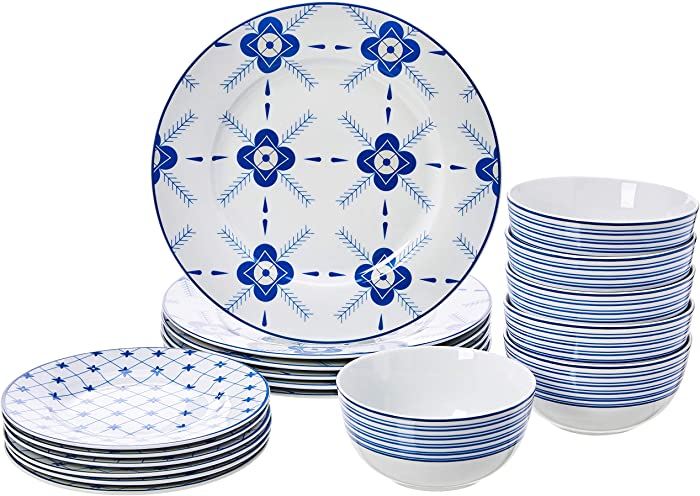 AmazonBasics 18-Piece Kitchen Dinnerware Set, Dishes, Bowls, Service for 6, Cottage