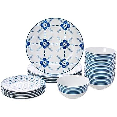 AmazonBasics 18-Piece Kitchen Dinnerware Set, Dishes, Bowls, Service for 6, Cottage