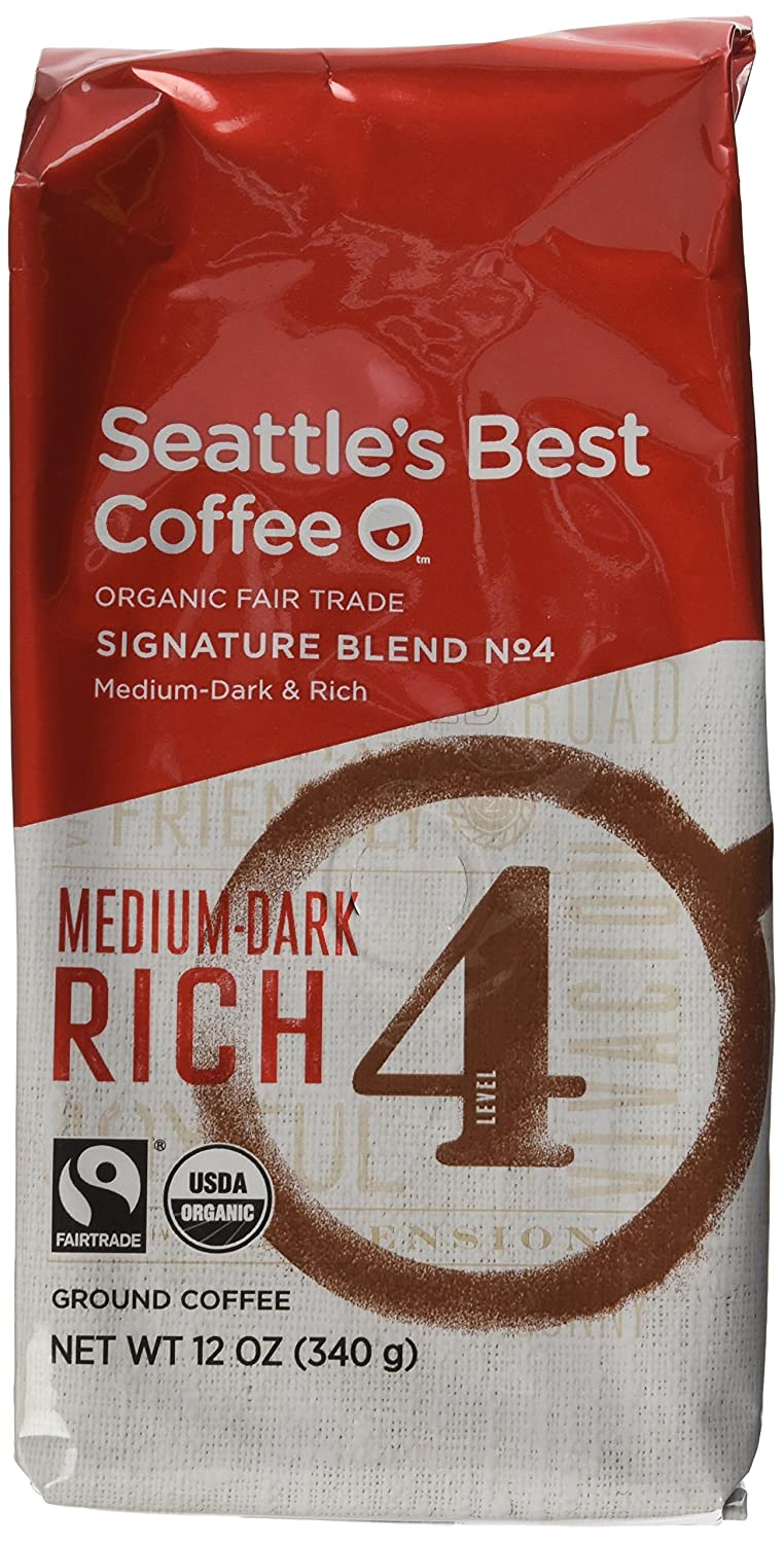 """""""Seattle's Best Level 4 Organic Fair Trade Ground Coffee, 12-Ounce Bags (Pack of 3)"""""""