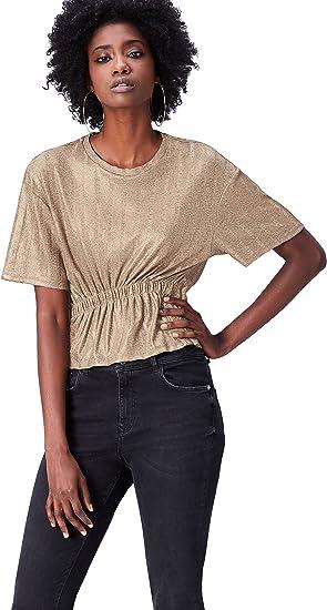TALLA 42. Marca Amazon - find. Camiseta Corta con Cuello Redondo Mujer