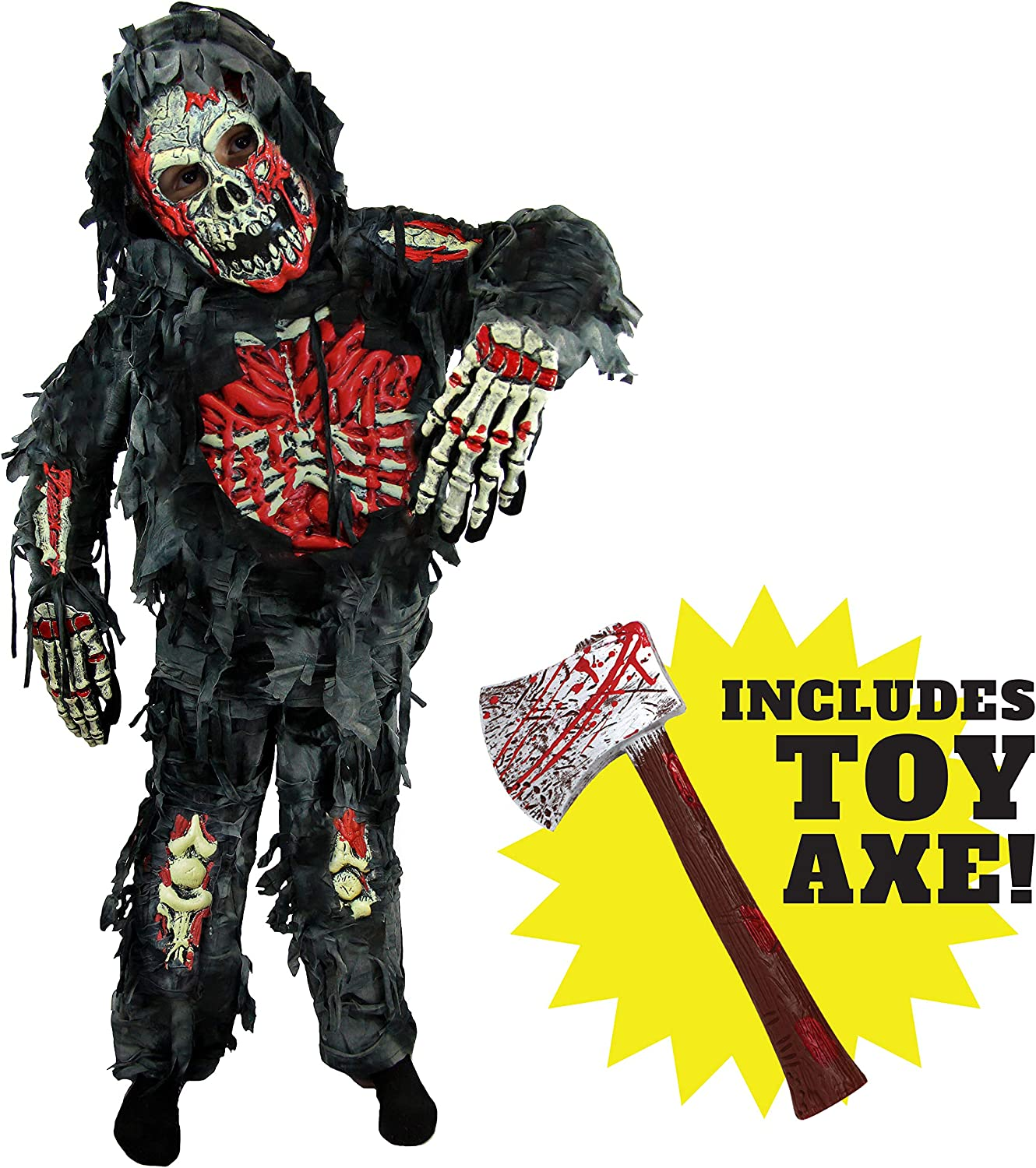 Spooktacular Creations Zombie Deluxe Costume for Child with Bloody Axe