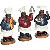 Fat Chef Kitchen Statue Set Of 3 African Americans Table Top Art Figurine D64201