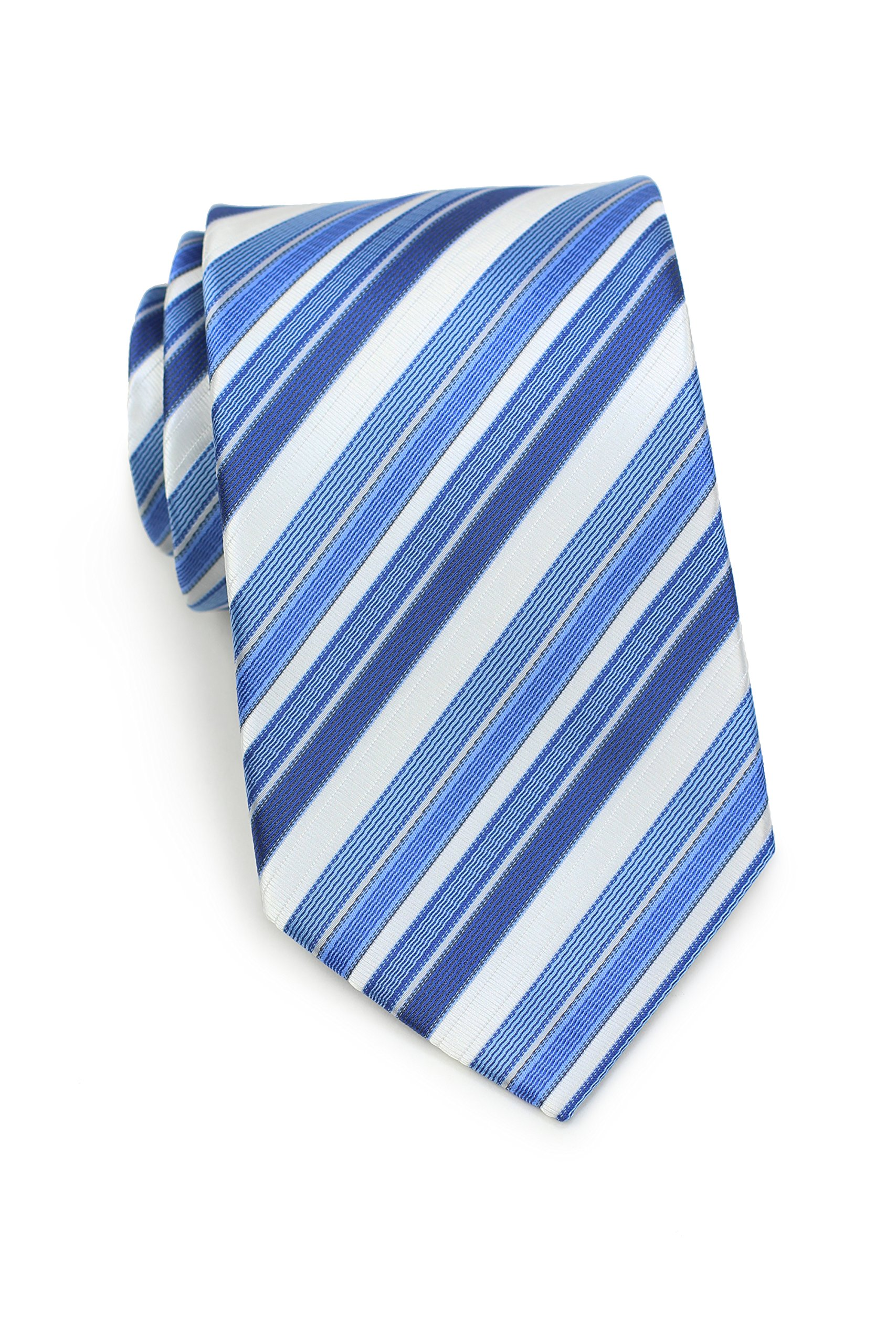 Bows-N-Ties Men's Necktie Bright Stripe Microfiber Tie Satin 3.25 Inches (Summer Blue and White)