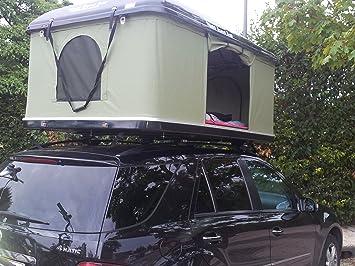 Nintri Travel - Tienda de campaña para techo de coche (214 x 145 x 95 cm), tela verde y cubierta blanca: Amazon.es: Deportes y aire libre