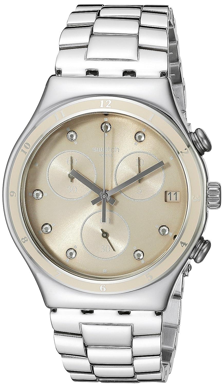 Swatch Women s YCS583G Irony Chrono Analog Display Quartz Silver Watch