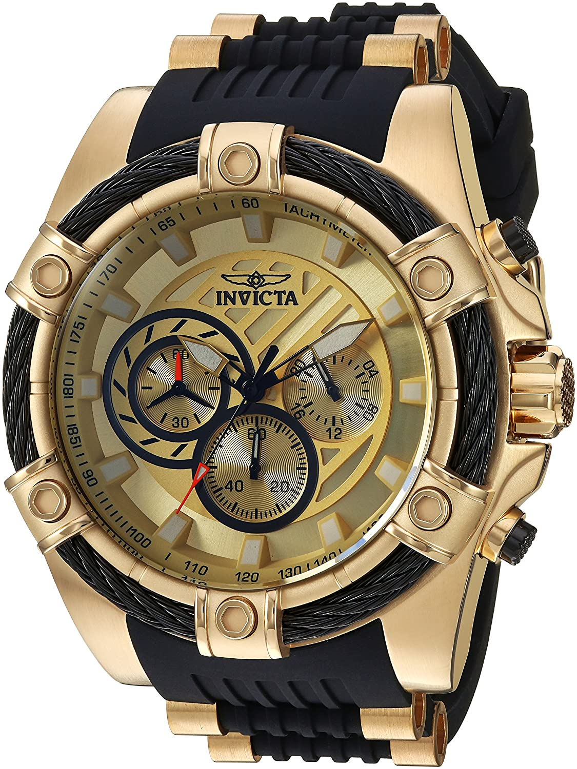 Invicta Men s Bolt Stainless Steel Quartz Watch with Silicone Strap, Black, 26 Model 25526