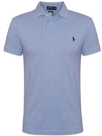 Ralph Lauren Mens Blue Jamaica Heather Short-Sleeved Polo Shirt ...