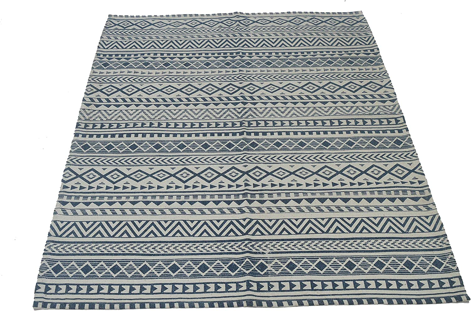 """CHARDIN HOME: Miami 100% Cotton Area Rug - Hand Woven, Printed & Stone Washed Rug for Living Room, Bedroom, Study Room, Kids Room, Dorm Room. Size: 4'x6' (48""""x68""""), Denim Blue/White"""