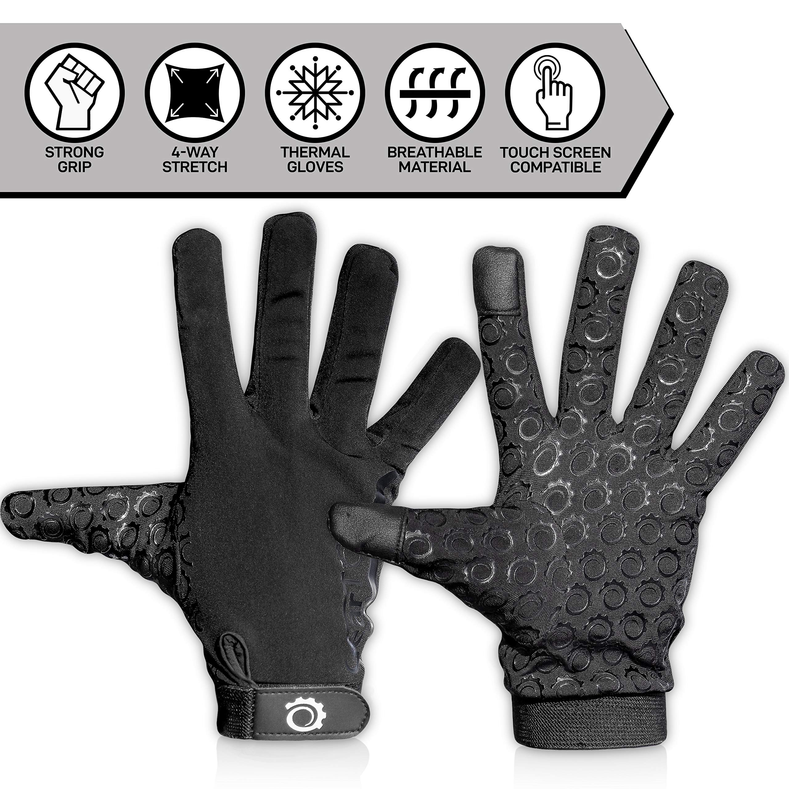Touch Screen Gloves - Great for Running Rugby Football Walking (Black, X-Large)